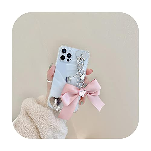 INS Pearl Chain teléfono caso para iphone 11 Pro Max 12 Mini 7 8 6 Plus X XR XS SE 2020 moda diamantes amor bowknot cubierta pulsera A-para iphone 12