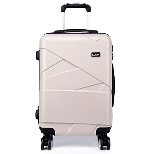 Kono Carry-on Luggage Lightweight PC Suitcase with 4 Spinner Wheel 39L (20',Beige)