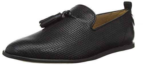 H by Hudson Comber Leather, Mocassins Homme, Noir 01, 44 EU