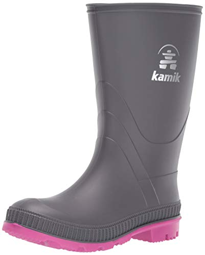 Kamik Girls' Stomp Rain Boot, Charcoal/Magenta, 5 M US Big Kid