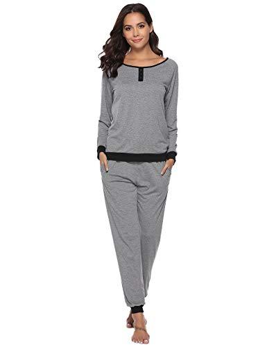 Abollria Damen Baumwolle Schlafanzug Mädchen Einfarbige Pyjama Set Lang Zweiteilige Nachtwäsche Hausanzug Sleepwear öko Freizeitanzug Hausanzug Anzug (grau, M)