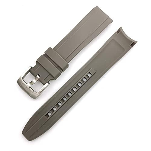 FETTR Correa de reloj de silicona suave de 18 mm, 20 mm, 22 mm, con codo de arco, deportivo, para hombres y mujeres, accesorios de pulsera de goma universal (color: gris, tamaño: 22 mm)