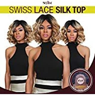 The Stylist Synthetic Lace Front Wig Swiss Lace Silk Top Curly Bob (1B)