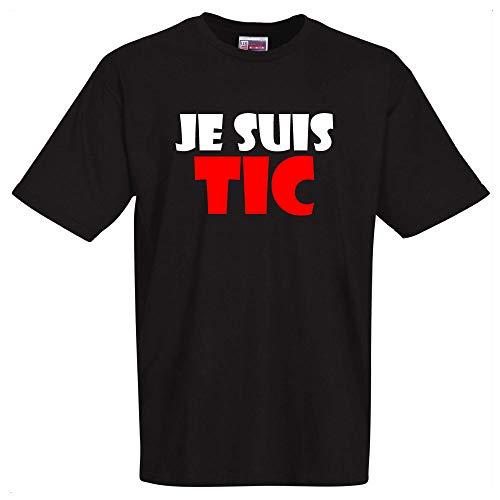 stylx design T-Shirt Noir Je suis TIC Tshirt de Bonne qualité. pour la fête des pères, fêtes des mères, Saint Valentin, Anniversaire,