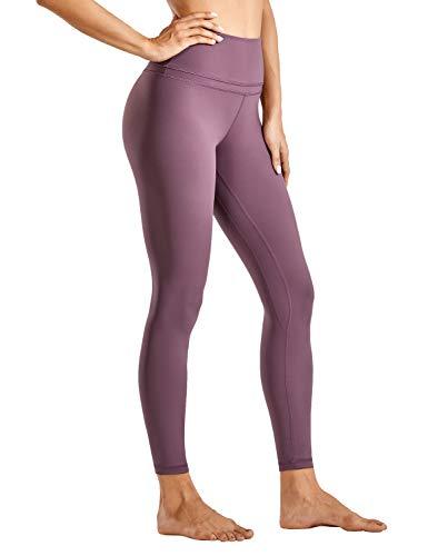 CRZ YOGA Mujer Naked Feeling Deportivos 7/8 Leggings Yoga Fitness Pantalon de Cintura Alta con Bolsillos-63cm Corteza Antigua 40