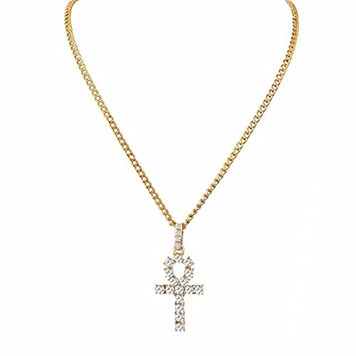 ADON Collar con colgante de cruz de acero inoxidable de Hip Hop Shellhard oro plata color cristal cadena larga collar hombres mujeres encanto joyería