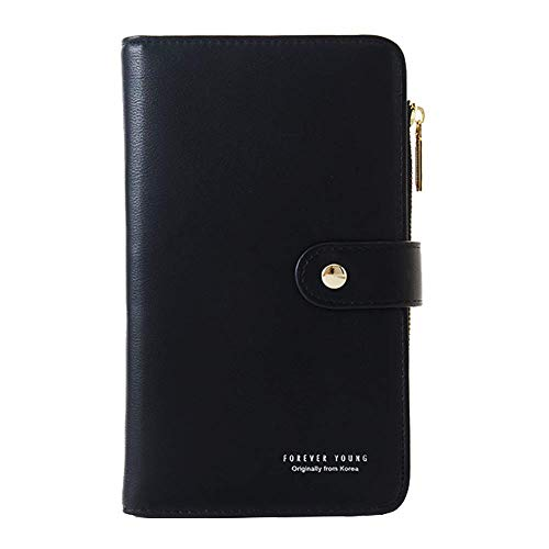 Coopay Notebook Pocket Long Portefeuille Femme Sac à Main, Élégant Porte Monnaie en Cuir PU Grand Capacité Poche Carnet Secret Fille Clutch Pochette Zipper Universel Téléphone Accessoires Noir