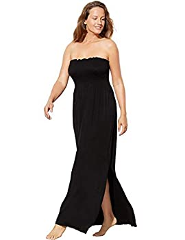 SWIMSUITSFORALL Swimsuits for All Women s Plus Size Strapless Maxi Dress Swimsuit Cover Up 14/16 Black