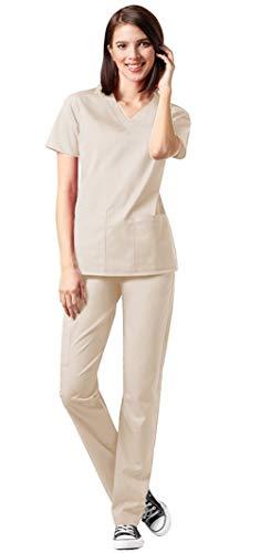 WonderWink WonderWork Women's V-Neck Top 101 and Elastic Waist Pant 501 Medical Uniforms Scrub Set (Khaki - X-Small/Small)