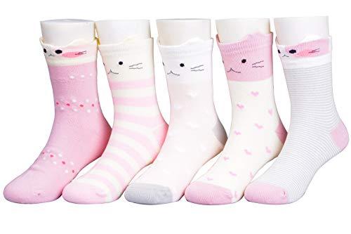 T.H.L.S Calcetines para niñas, 5 pares, de algodón, para invierno, más gruesos, animales, gato, oso, para niños pequeños, de 0 a 15 años, Bonita cara de gato., 5-7 Años