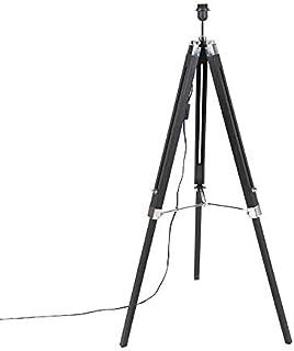 QAZQA Industrial Lámpara de pie negra sin pantalla - TRIPOD Madera/Acero Alargada Adecuado para LED Max. 1 x 40 Watt