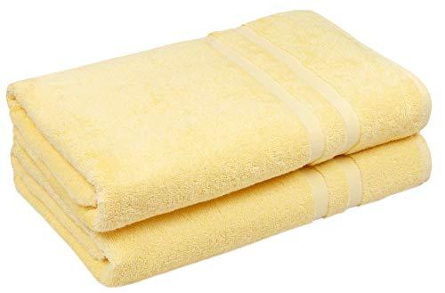 ZOLLNER Juego de 2 Toallas de Ducha Amarillas, algodón, 70x140 cm