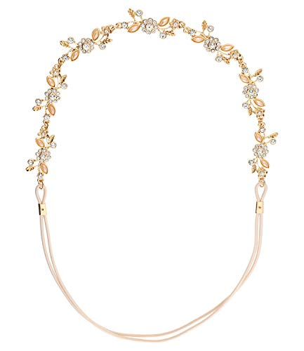 SIX Haarband mit elastischem Band, Blumen und Strasssteinen und Zierperlen, modisches Accessoire (456-886)