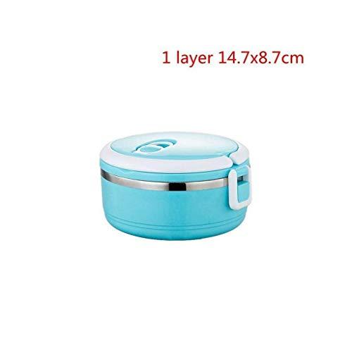 Nfudishpu Edelstahl-Wärmeschutz-Brotdose , Bento-Box für Erwachsene , Lebensmittelbehälter für Kinder Tragbare Picknickschule (Farbe: 3 Schichten Grün) (Farbe: 1 Schicht Blau)