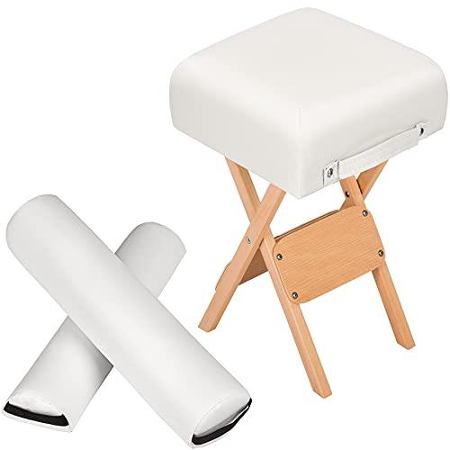 TecTake Tabouret + Coussin demi-cylindre + Coussin rouleau - diverses couleurs au choix - (Blanc)