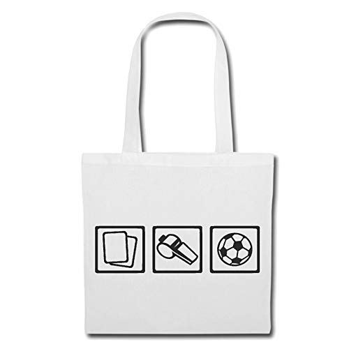 Tasche Umhängetasche SCHIEDSRICHTER - FUßBALL - HANDBALL - VOLLEYBALL - WASSERBALL Einkaufstasche Schulbeutel Turnbeutel in Weiß