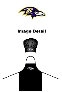 NFL Baltimore Ravens Chef Hat and Apron Set, Black, One Size