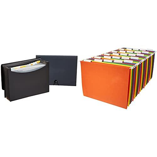 Amazon Basics Expanding Organizer File Folder, Letter Size - Black/Gray, 2-Pack & Hanging Organizer File Folders - Letter Size, Assorted Colors, 25-Pack