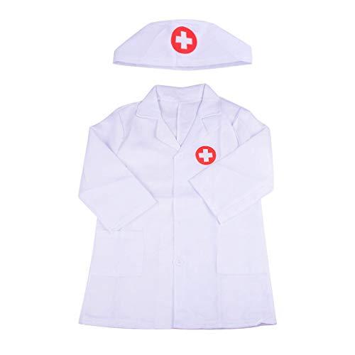 Sixcup Kinder Kostüm Krankenschwester Doctor Rollenspiel Kostüm Arzt Overall Weißes Mantel für Unisex Kinder,Laborkittel für Halloween Karneval Fasching Geschenke (Weiß)