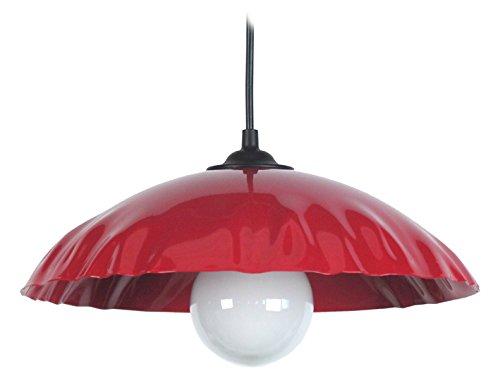 Tosel 11512 Suspension Tôle Demi Lune Plisse Acier 100 W E27 Rouge