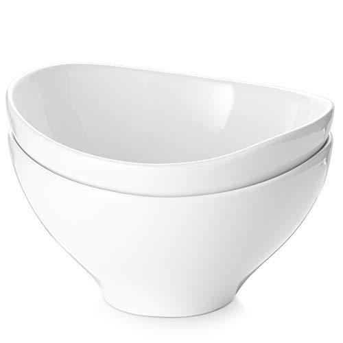 DOWAN Salad Bowls, 45 Oz Ceramic Large Serving Bowls, White Deep Bowl Set for Salad, Pasta, Ramen, Popcorn, Noodle, Pho, Set of 2