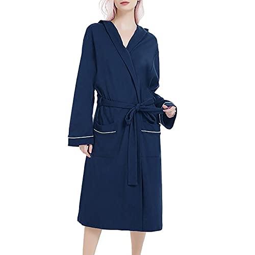 CYGGA Damen Langarm Bad Strickpyjamas lang Pyjama Set lang Nachtwäsche Hausanzug Atmungsaktiv Nachtwäsche mit Knopfleiste Sleepwear Set Minikleid für Winter