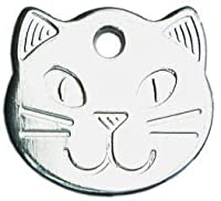 Solid Durable Cat Tag Cat Head Design with Cat Face on front Engravable on the back READ PRODUCT DESCRIPTION FURTHER DOWN PAGE