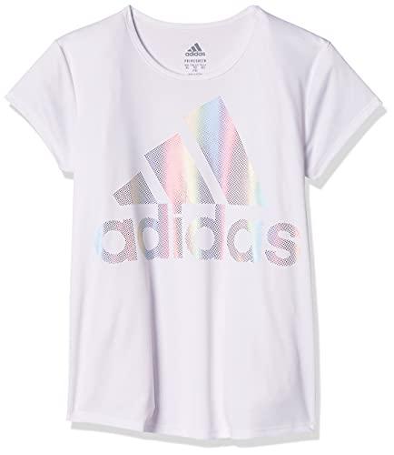 adidas Girls' Big Short Sleeve Scoop Neck Tee T-Shirt, White BOS Foil Rainbow, Medium