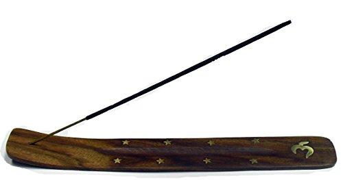 MERCAVIP Thermovip. Räucherstäbchen-Halter. Großen Eschenholz Tabelle 26cm. Messing Intarsien. Abwechslungsreiche Motive