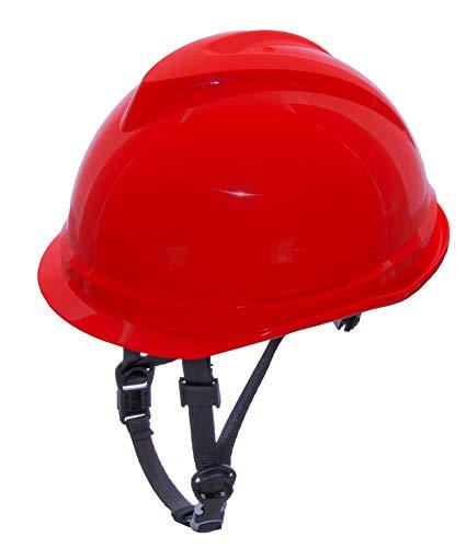 MSA 520 V-Gard Casco de Seguridad con Correa de Barbilla para la protección en la construcción - Rojo