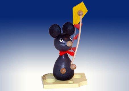 Mäusekinder Mäusekind mit Drachen Weihnachtsdeko Maus Figur Osterdeko 7cm Erzgebirge NEU