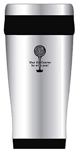 Golfing Tumbler Cup With Lid | Let the Course Be With You Stainless Steel Travel Tumbler Present For the Avid Golfer - Stocking Stuffer, Holiday Present