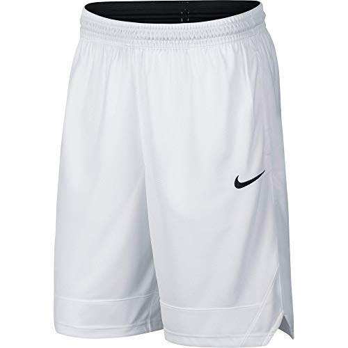 Nike Dri-FIT Icon, Men's Basketball Shorts, Athletic Shorts with Side Pockets, White/White/Black, S