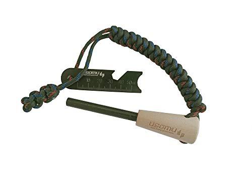 USOMU Acciarino Ferro-Cerio e Magnesio Multiuso con Manico in Legno e Paracord Multicolor di qualità Oltre 12000 Utilizzi Accendino di Sopravvivenza Scout Campeggio Trekking Escursioni per Esterno