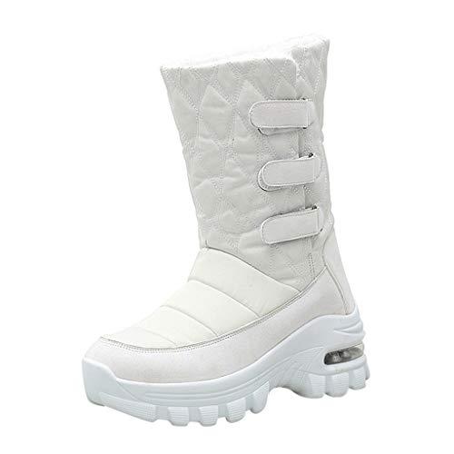 WUSIKY Geschenk für Frauen Stiefeletten Damen Bootsschuhe Boots Stiefel wasserdichte Winterschuhe Schneeschuhe Plattform Warme Stiefeletten (Weiß, 36 EU)