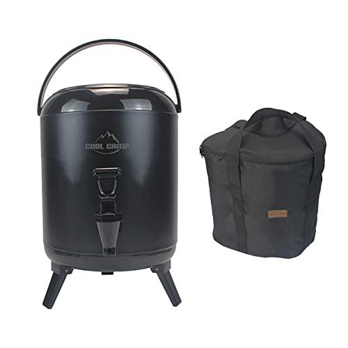 SM SunniMix Cubo de Aislamiento de Espuma de PU para Camping, Almacenamiento de Calor, Gran Capacidad, Sellado de Doble Capa, Tanque de Bebidas de Acero - Negro 6L