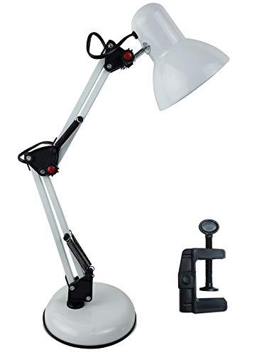 Luminária Articulada De Mesa Abajur Tipo Pixar Com Base E Garra (Branco)