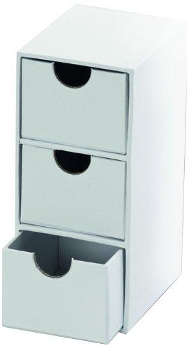 folia 3315 - Pappschachtel Kommode schmal, weiß, ca. 7 x 9,5 x 16 cm, mit 3 Schubfächern