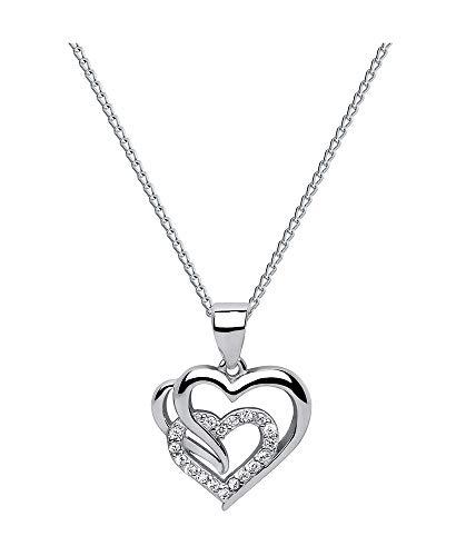 *Beforia Paris* - Doppelt Herz - Tolle Halskette Herz mit Swarovski® Zirconia - mit Silberkette aus 925 Silber - Halskette mit Schmucketui