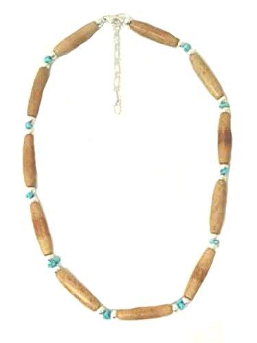 Indianische Knochenkette mit Perlen aus Sterling Silber - Bones & Turquoise