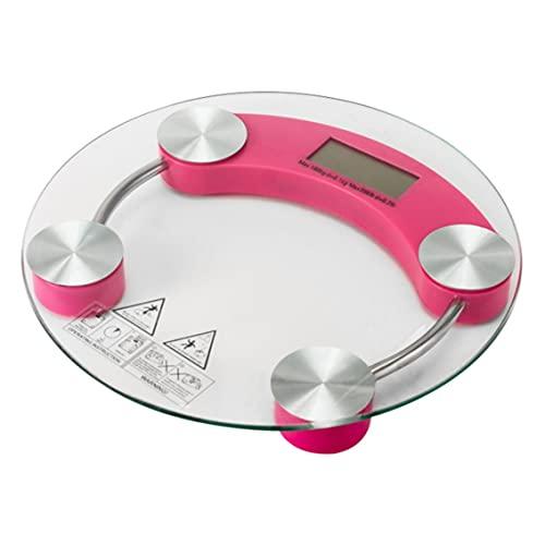 Ygerbkct Báscula de pesaje electrónica LCD 180 kg Peso Corporal Digital de Vidrio portátil 33 cm de diámetro Básculas de baño para el hogar