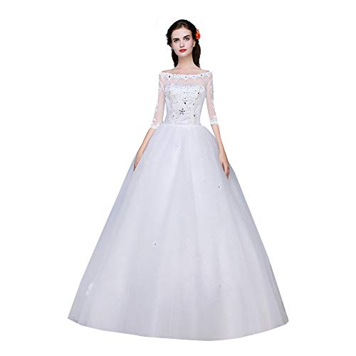 White Bridal Dresses for Wedding Tulle 3/4 Sleeves Sequins Womens Wedding Dresses Ball Gown (16)