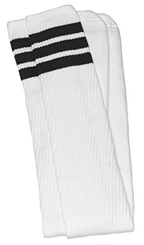 skatersocks 35 Inch Overknee Damen Socken Kniestrümpfe oldschool retro Sportsocken weiß schwarz