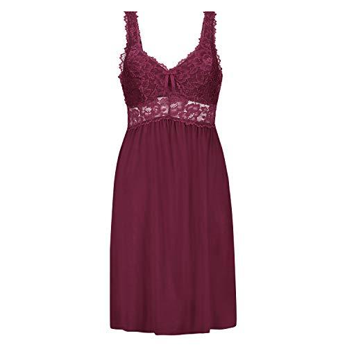 Hunkemöller Damen Slipdress Modal Lace- Gr. S, Windsor Wine