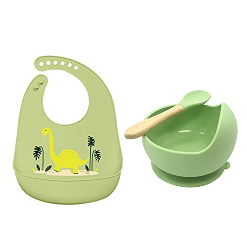 PPuujia 3Pcs Baby Silicone Bibs Bowl Set Cartoon Waterproof Bib Newborn Infant Saliva Towel Solid Color Sucker Bowl Spoon For Children (Color : Style6)