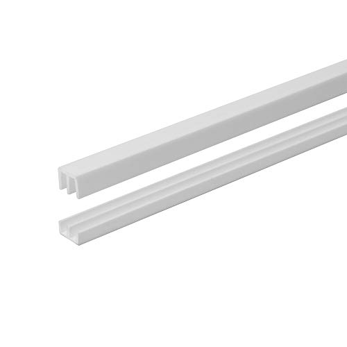 4 Ft. Long White Plastic Sliding Door Track Set for 1/8' Thick Panels (Pack of 1) by Outwater Plastics