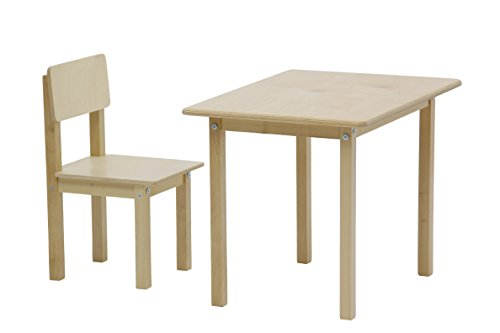Polini Kids Kindersitzgruppe Tisch und Stuhl Naturholz