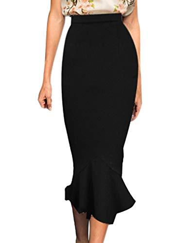 VFSHOW Womens Black Vintage High Waist Work Business Mermaid Midi Pencil Skirt 2723 BLK M