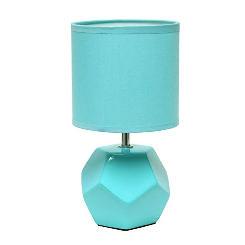Simple Designs LT2065-BLU Round Prism Mini Matching Fabric Shade Table Lamp, Blue