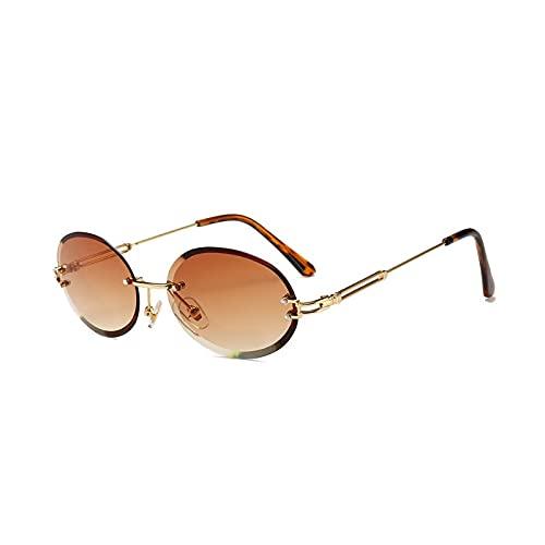 AMFG Gafas De Sol Ovaladas Retro Mujeres Y Hombres De Cristal Textura Gafas Sin Gafas De Frontera (Color : F)